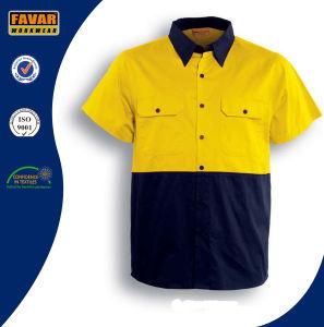 100% Cotton Short Sleeve Hi Vis Twill Safety Work Shirt