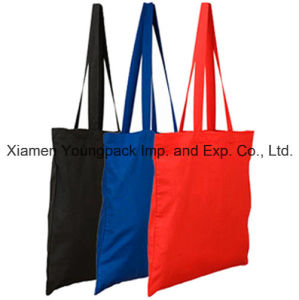 Promotional Dyed Colored Long Handle Cotton Canvas Tote Bag for Shopping pictures & photos