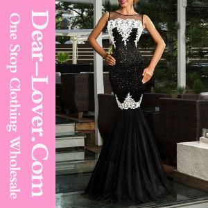 Black Sequin Applique Evening Party Mermaid Dress pictures & photos
