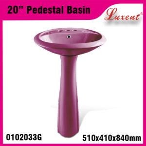 High Quality Bathroom Porcelain Small Size out Door Hand Wash Pedestal Basin pictures & photos