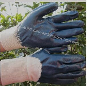 Cotton Interlock Shell Nitrile 3/4 Coated Protective Safety Work Gloves (N6038) pictures & photos