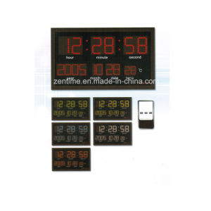 Electric Remote Control Large LED Digital Decorative Wall Calendar Clock pictures & photos