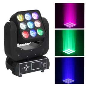 RGBW 9PCS 4in1 15W LED Matrix Moving Head Effect Light pictures & photos