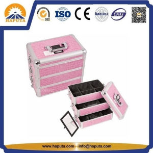 Pink Crocodile Cosmetic Vanity Case with 3 Drawers (HB-2036) pictures & photos