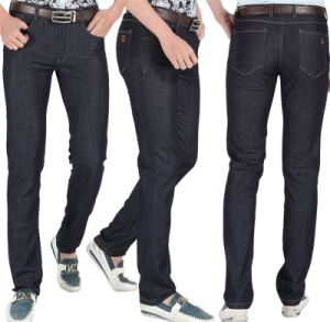 Men′s 2015 Summer Genuine Black Middle Waist Slim Straight Casual Jeans pictures & photos