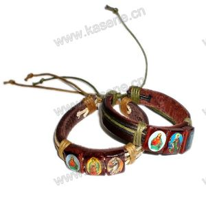Leather Jesus Fashion Bracelet, Leather Bracelet with Saint Pictures
