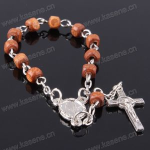 Cheap Religious Crafts Small Nalien Wood Beads Catholic Bracelet