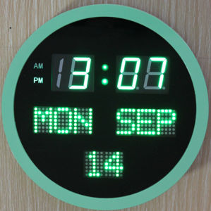 Electronic LED Display Digital Round Wall Clock pictures & photos