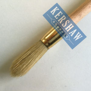Round Brush (Paintbrush with Pure White bristle and beech wood handle, tip-round brush) pictures & photos