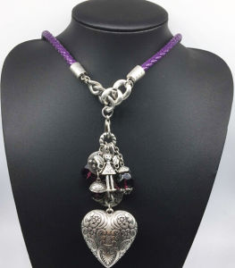 Leather Chain Alloy Heart Beads Necklace (XJW13783) pictures & photos