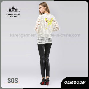 Butterfly Patterned Long Sleeve White Coat Sweater for Junior pictures & photos