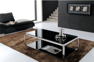 High Gloss Glass Stainless Steel Coffee Table Office Furniture pictures & photos