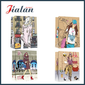 Lady Design Custom Printed Wholesales 210g Ivory Paper Shopping Bag pictures & photos