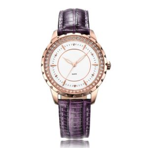 Lilac Color Leather Strap Watch for Women Fashion and Colorful pictures & photos
