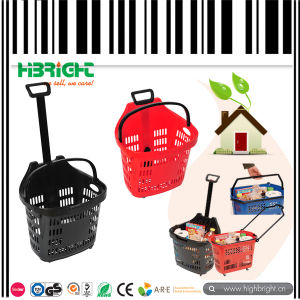Supermarket Grocery Plastic Rolling Basket pictures & photos