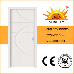 Flush White Toliet Flush MDF PVC Doors Price (SC-P183) pictures & photos