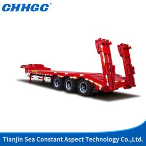 3 Axles Stright Beam Lowbed Semi Trailer pictures & photos