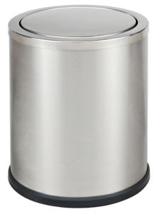 Stainless Steel Rounded Dustbin with Flip for Bathroom (KL-52A) pictures & photos