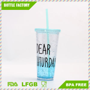 BPA Free Double Wall Plastic Ice Cup with Straw pictures & photos
