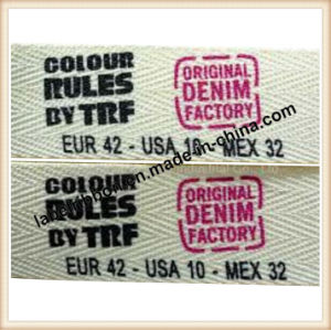 Oeko-Approved Herringbone Label Printing Cotton Tape (CCJCW008N)) pictures & photos