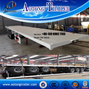 China 3 Axles 40FT Flatbed Container Semitrailer for Sale pictures & photos
