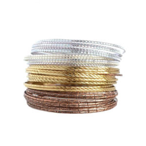 Gold & Rose Gold & Silver Plated Three Colors Indian Bangles Set Fashionable Simple 36PCS/Set pictures & photos