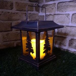 4 Mold Sides Gold Finish Tree Lantern