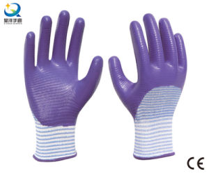 13G Polyester Zebra-Stripe, Natrile Half Coated Glove Labor Protective Safety Work Gloves (N6042) pictures & photos