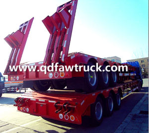 3 Axles 13m Length 60tons Gooseneck Lowbed Semi Trailer for Sale pictures & photos