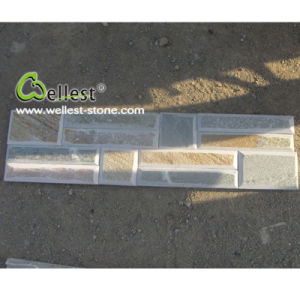Best Price Rectangle Shape Yellow Wood Slate Culture Stone for Wall Cladding pictures & photos