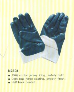 Nitrile Working Gloves with Safety Cuff pictures & photos
