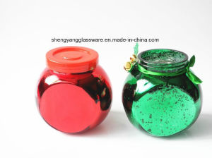 Spray Electroplate Colors Popular Shape Small Glass Candy Jar with Metal Lid pictures & photos