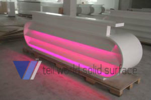 L Shape White LED Lighted Acrylic Reception Desk pictures & photos