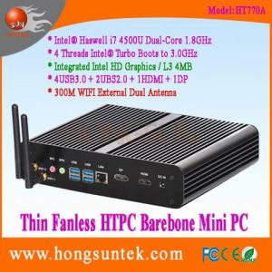 Ht770A Barebone Mini PC Intel IVY Bridge Haswell I7-4500u 1.8GHz Dual Core with 4 Threads Intel Turbo Boots to 3.0GHz