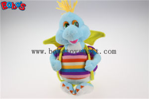 "10""Cute Blue Cartoon Stuffed Dinosaur Plush Toy with Colorful Overallsbos1197 pictures & photos"