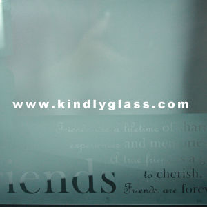 4mm Acid Etched Logo Tempered Glass for Building pictures & photos