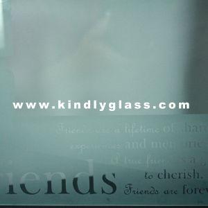 4mm Acid Etched Logo Tempered Glass for Building
