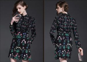 2015 Newest Hot Sale Autumn European and American High-End Long Sleeve Stand Collar Women′s Floral Chiffon Dress pictures & photos