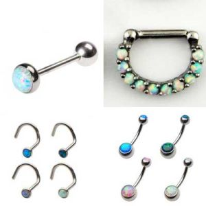 Opal Tongue Barbell Labret Monroe Belly Ring