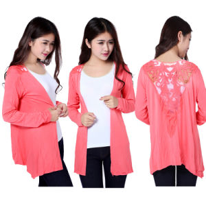 Ladies Summer Fashion Lace Cardigan Translucent Long Sleeve with Lace on Back to Prevent Sunburn New