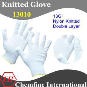 13G White Nylon Double Layer Knitted Glove with Yellow Over Lock pictures & photos