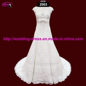 Cap Sleeve Full Length Wedding Dress with Bow pictures & photos