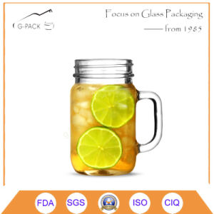 Transparent Glass Drinking Mason Jar with Handle pictures & photos
