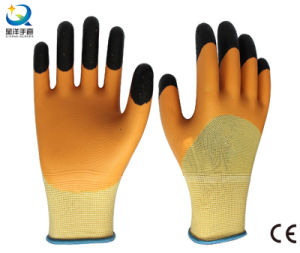 13G Polyester Liner Latex 3/4 Coated Finger Reinforced Work Glove pictures & photos