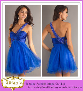 2013 One Shoulder a-Line Empire Backless Organza Sleeveless Cocktail Dresses Short Royal Blue