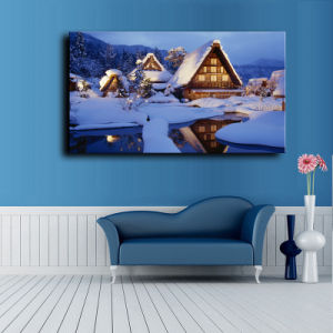 Wholesale 2016 Latest LED Light Oil Paintings on Canvas Christmas Snow-Covered Landscape pictures & photos