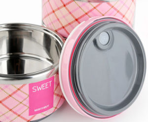Three Layer Stainless Steel Double Wall Vacuum Lunchbox (WE-0100) pictures & photos