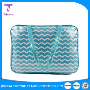 Designed Simple Style PVC Material Striped Zipper Tote Bag pictures & photos