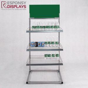 Retail Store Floor Iron Water Rack Metal Beverage Display Stand pictures & photos