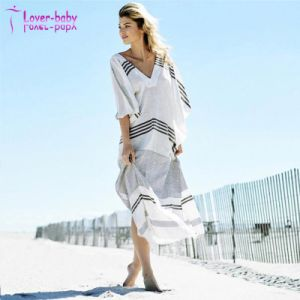 Wholesale Womens Deep V-Neck and Wide Armhole Striped Beach Kaftan pictures & photos
